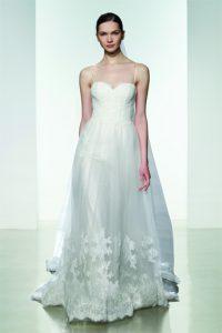 Vestido de novia Christos Edith linea a con tirantes y encaje bordado