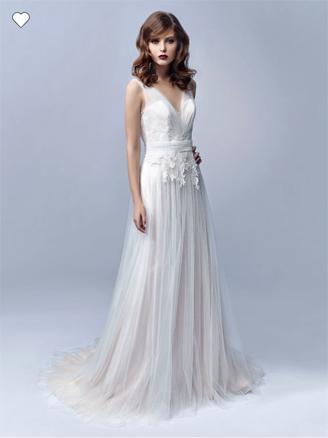Vestido de novia Edelin escote V con falda linea a