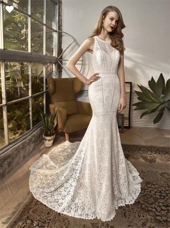 Vestido de novia Eliza estilo bohemio de encaje tipo halter