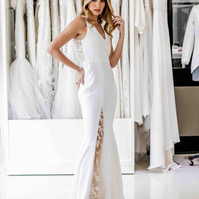 Vestido Coralina corte sirena minimalista de escote V
